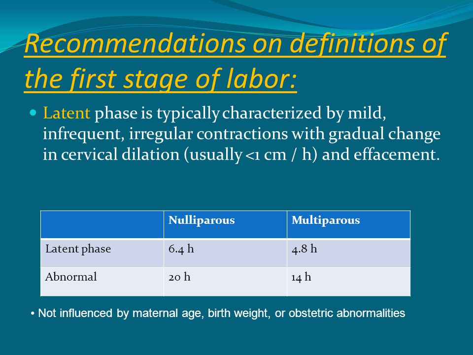 Recommendations on definitions of the first stage of labor: Latent phase is typically characterized by mild, infrequent, irregular contractions with g