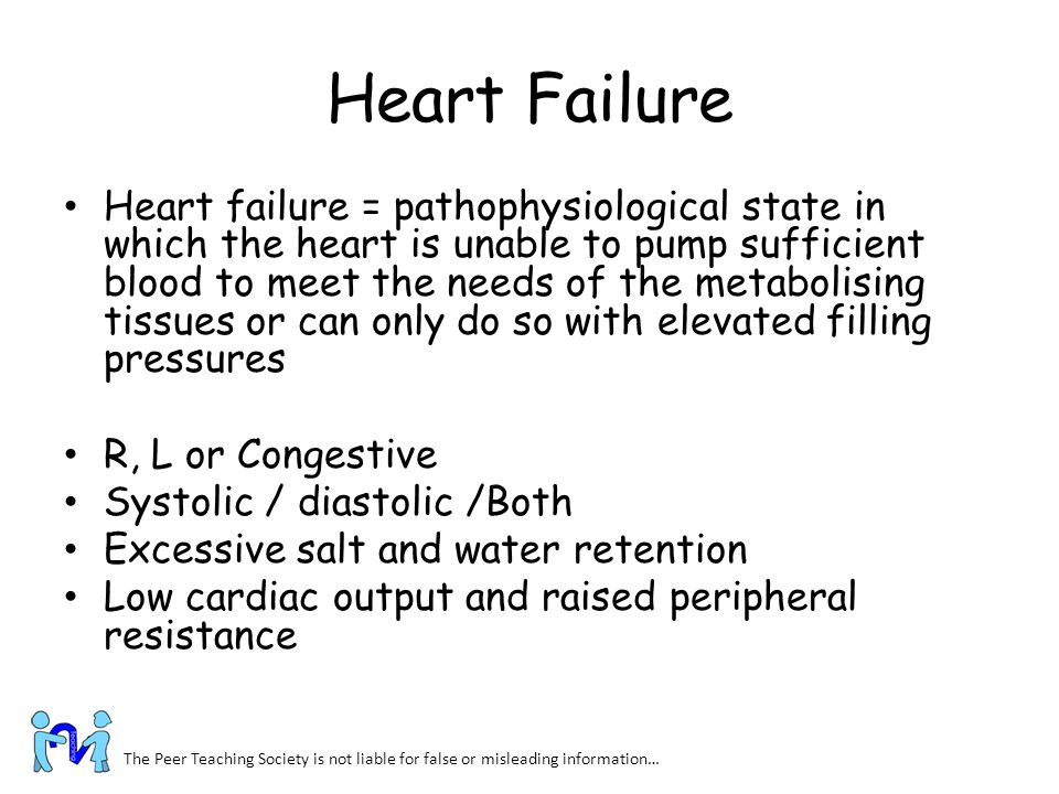 Heart Failure Heart failure = pathophysiological state in which the heart is unable to pump sufficient blood to meet the needs of the metabolising tis