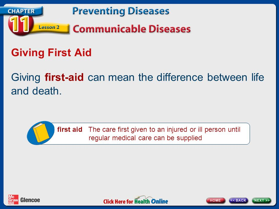 Giving First Aid Giving first-aid can mean the difference between life and death.