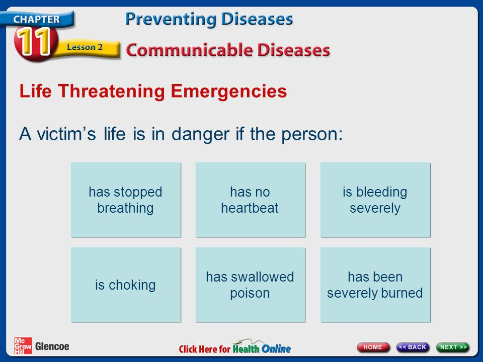 Life Threatening Emergencies A victim's life is in danger if the person: has stopped breathing has no heartbeat is bleeding severely is choking has swallowed poison has been severely burned