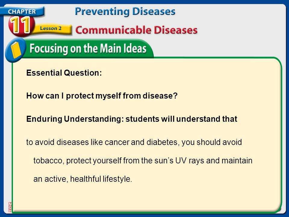 Essential Question: How can I protect myself from disease.