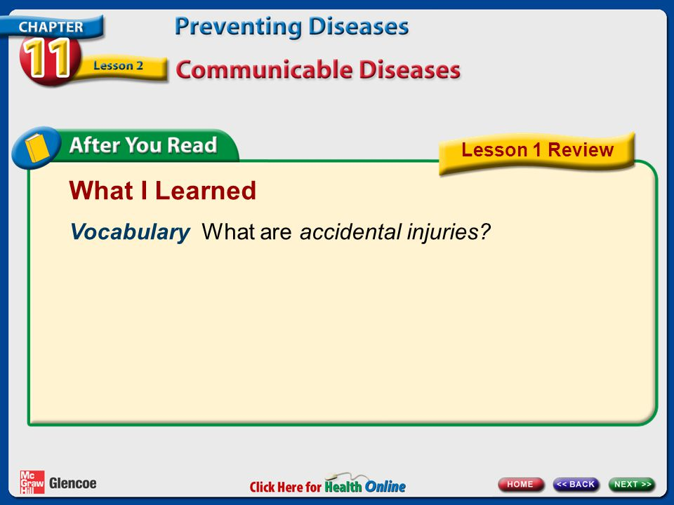 What I Learned Vocabulary What are accidental injuries? Lesson 1 Review