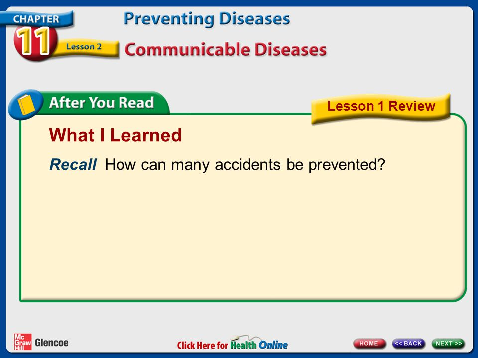 What I Learned Recall How can many accidents be prevented? Lesson 1 Review