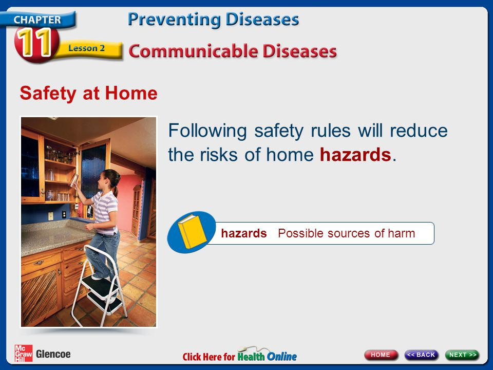 hazards Possible sources of harm Safety at Home Following safety rules will reduce the risks of home hazards.