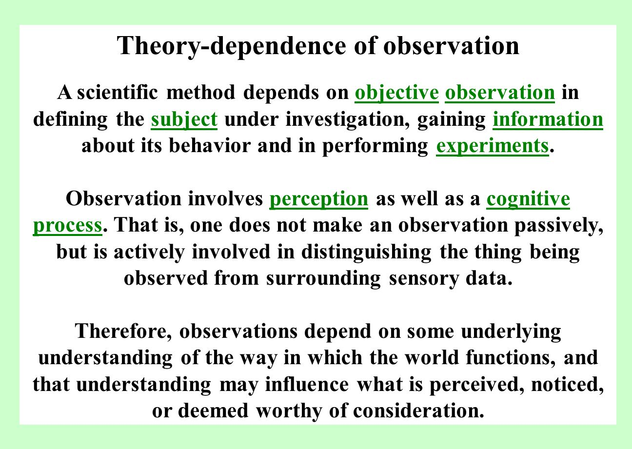 Theory-dependence of observation A scientific method depends on objective observation in defining the subject under investigation, gaining information about its behavior and in performing experiments.objectiveobservationsubjectinformationexperiments Observation involves perception as well as a cognitive process.