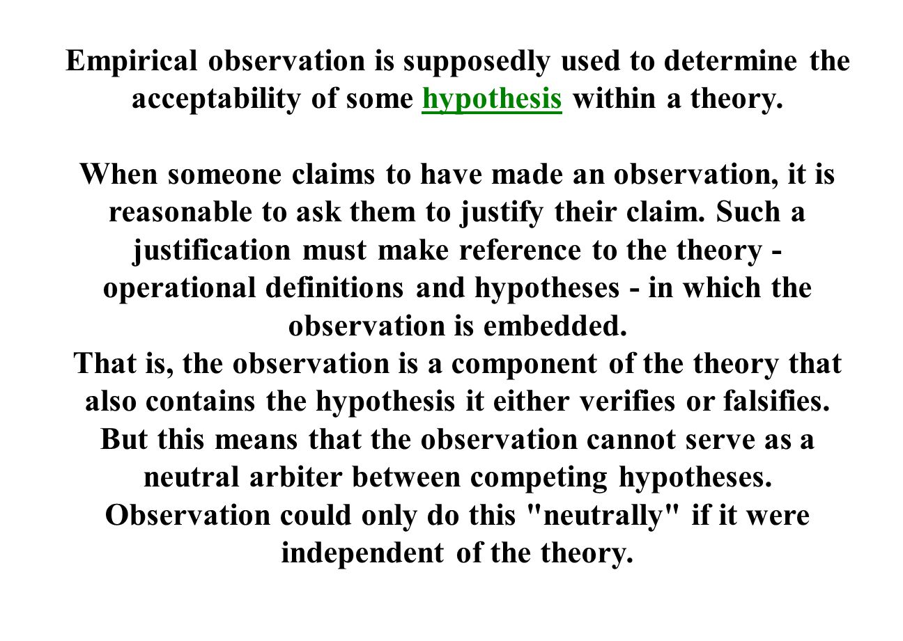 Empirical observation is supposedly used to determine the acceptability of some hypothesis within a theory.hypothesis When someone claims to have made an observation, it is reasonable to ask them to justify their claim.