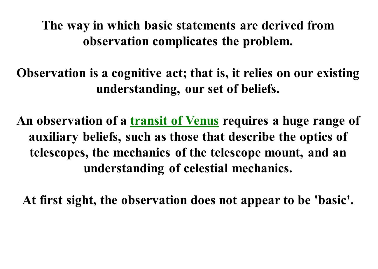 The way in which basic statements are derived from observation complicates the problem.