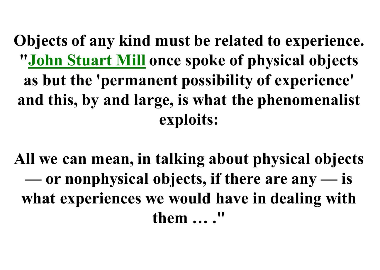 Objects of any kind must be related to experience.