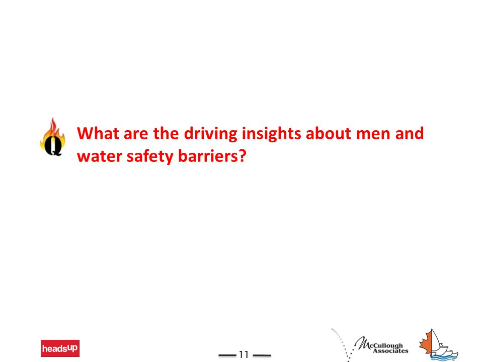 11 What are the driving insights about men and water safety barriers