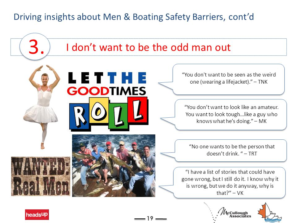 """I don't want to be the odd man out Driving insights about Men & Boating Safety Barriers, cont'd 19 3. """"No one wants to be the person that doesn't drin"""