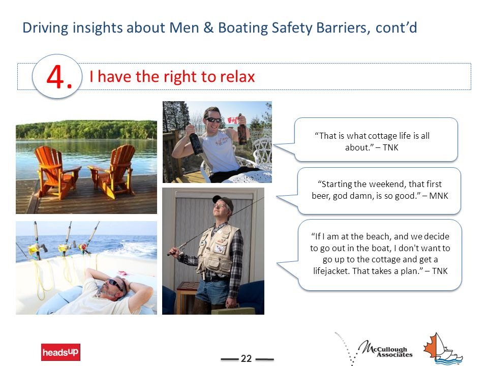I have the right to relax Driving insights about Men & Boating Safety Barriers, cont'd 22 4.