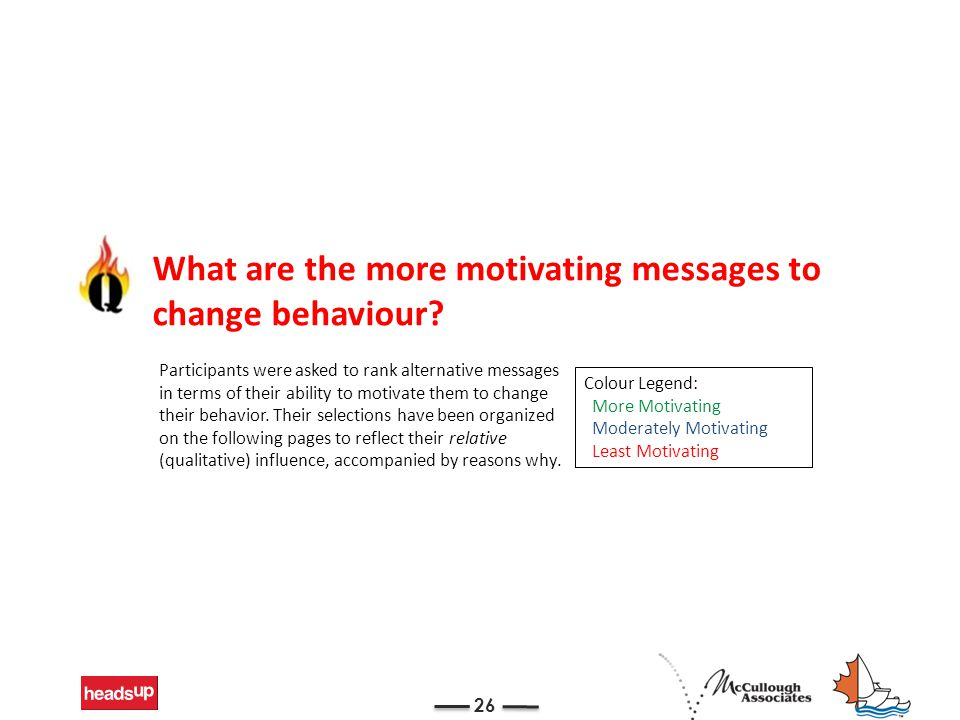 26 What are the more motivating messages to change behaviour? Participants were asked to rank alternative messages in terms of their ability to motiva