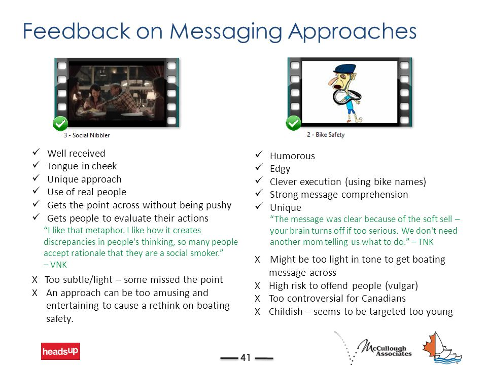Feedback on Messaging Approaches 41 Well received Tongue in cheek Unique approach Use of real people Gets the point across without being pushy Gets people to evaluate their actions X Too subtle/light – some missed the point XAn approach can be too amusing and entertaining to cause a rethink on boating safety.