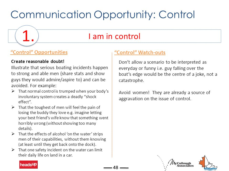 """Communication Opportunity: Control 48 I am in control 1. """"Control"""" Opportunities Don't allow a scenario to be interpreted as everyday or funny i.e. gu"""