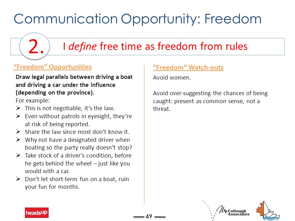 Communication Opportunity: Freedom 49 I define free time as freedom from rules 2.