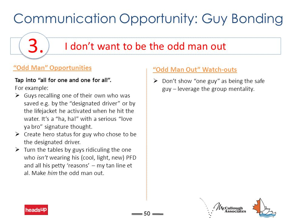 """Communication Opportunity: Guy Bonding 50 I don't want to be the odd man out 3. Tap into """"all for one and one for all"""". For example:  Guys recalling"""