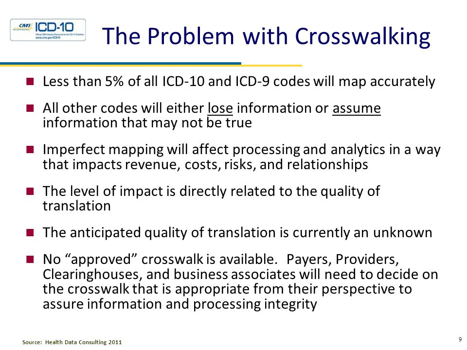The Problem with Crosswalking Less than 5% of all ICD-10 and ICD-9 codes will map accurately All other codes will either lose information or assume in
