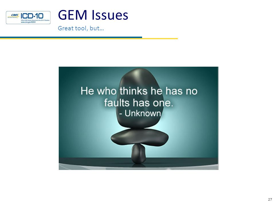 GEM Issues Great tool, but… 27 Health Data Consulting © 2010