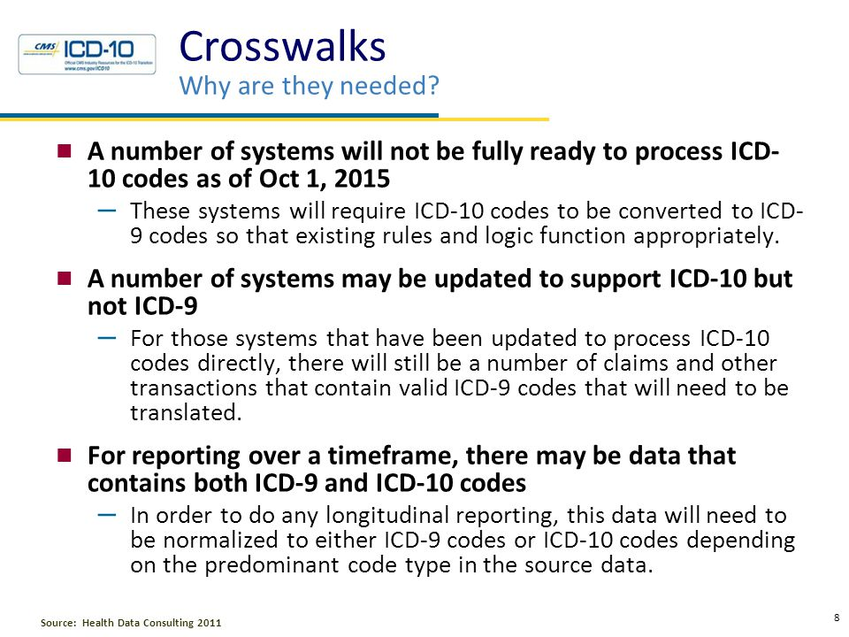 The Problem with Crosswalking Less than 5% of all ICD-10 and ICD-9 codes will map accurately All other codes will either lose information or assume information that may not be true Imperfect mapping will affect processing and analytics in a way that impacts revenue, costs, risks, and relationships The level of impact is directly related to the quality of translation The anticipated quality of translation is currently an unknown No approved crosswalk is available.