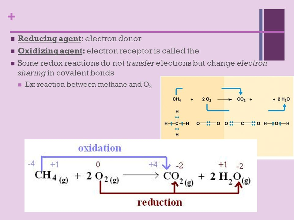 + Reducing agent: electron donor Oxidizing agent: electron receptor is called the Some redox reactions do not transfer electrons but change electron sharing in covalent bonds Ex: reaction between methane and O 2