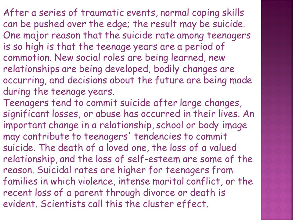 Suicide is the voluntary and willful taking of one's own life. It is a huge problem with the entire population in society's around the world, but has