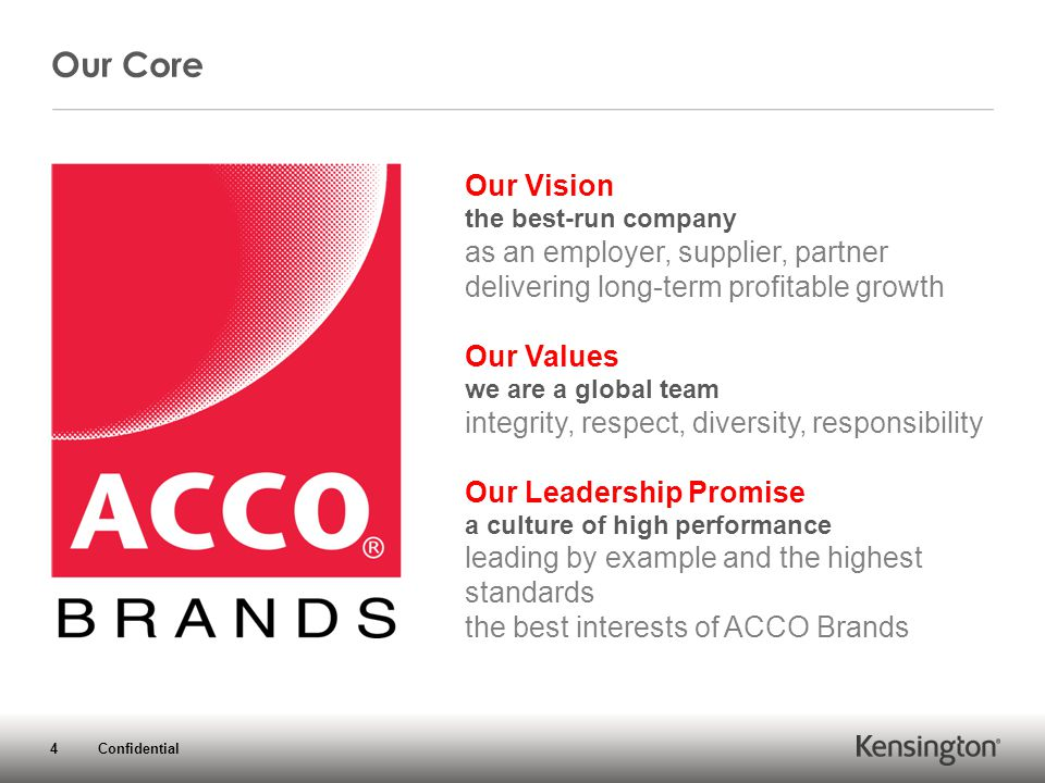 4 Confidential Our Vision the best-run company as an employer, supplier, partner delivering long-term profitable growth Our Values we are a global team integrity, respect, diversity, responsibility Our Leadership Promise a culture of high performance leading by example and the highest standards the best interests of ACCO Brands Our Core