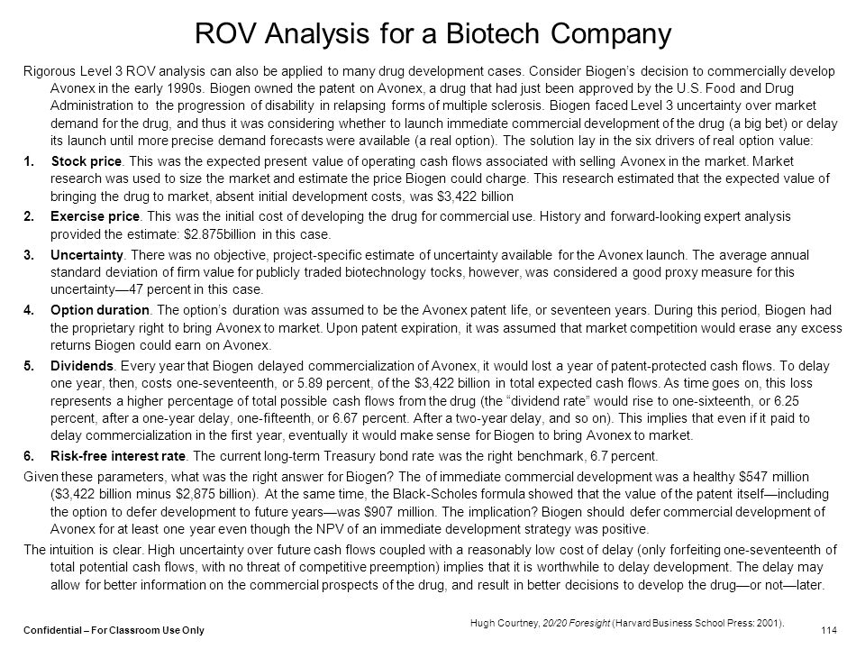 Confidential – For Classroom Use Only ROV Analysis for a Biotech Company Rigorous Level 3 ROV analysis can also be applied to many drug development ca