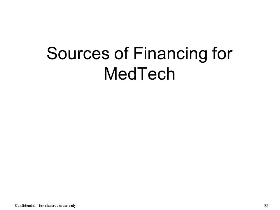 32 Confidential - for classroom use only Sources of Financing for MedTech