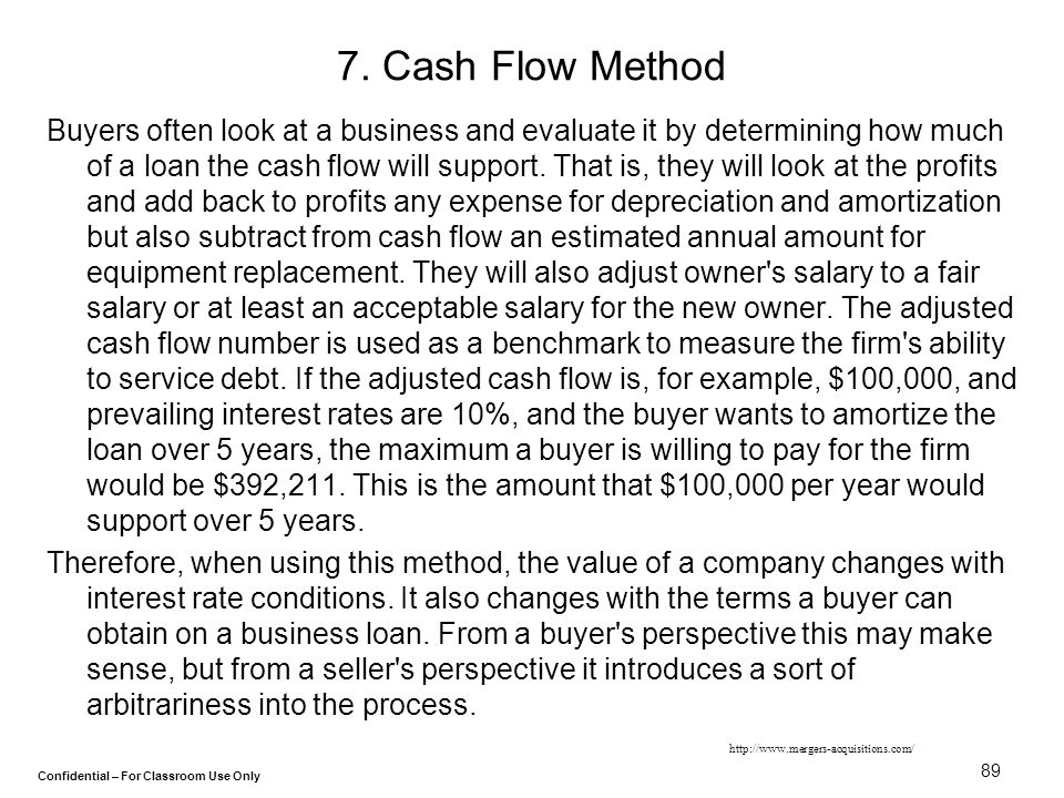 Confidential – For Classroom Use Only 89 7. Cash Flow Method Buyers often look at a business and evaluate it by determining how much of a loan the cas