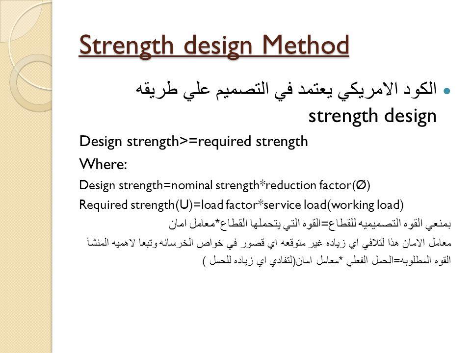 Strength design Method الكود الامريكي يعتمد في التصميم علي طريقه strength design Design strength>=required strength Where: Design strength=nominal str