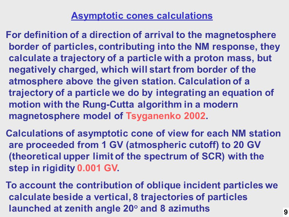 9 Method: 8 direct. Asymptotic cones calculations For definition of a direction of arrival to the magnetosphere border of particles, contributing into