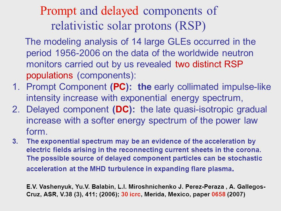 Prompt and delayed components of relativistic solar protons (RSP) The modeling analysis of 14 large GLEs occurred in the period 1956-2006 on the data