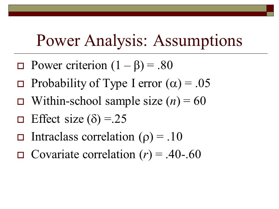 Power Analysis: Assumptions  Power criterion (1 – β) =.80  Probability of Type I error (  ) =.05  Within-school sample size (n) = 60  Effect size