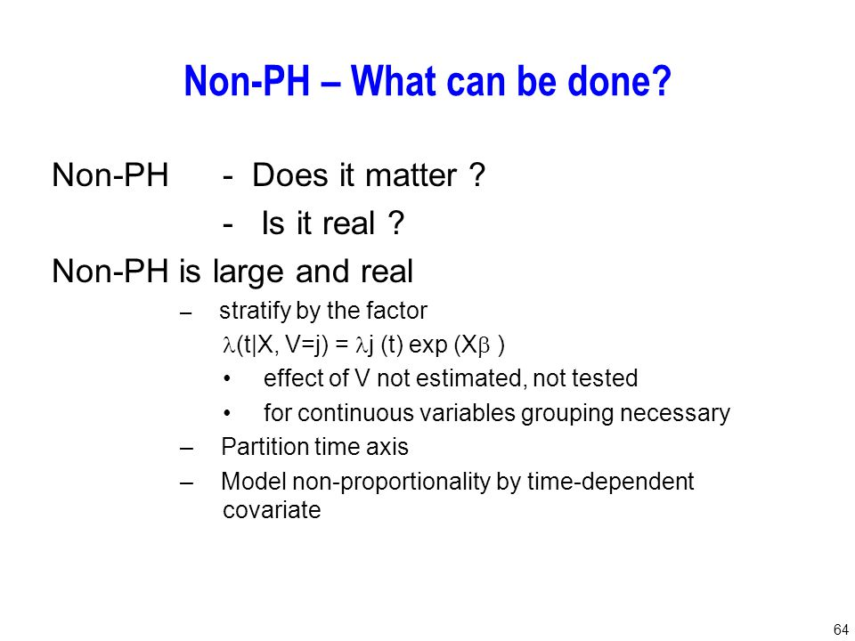 64 Non-PH – What can be done. Non-PH - Does it matter .