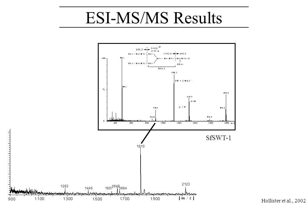 MALDI-TOF Results Sf9 Sfß4GalT Sfß4GalT/ST6 SfSWT-1 Hollister et al., 2002