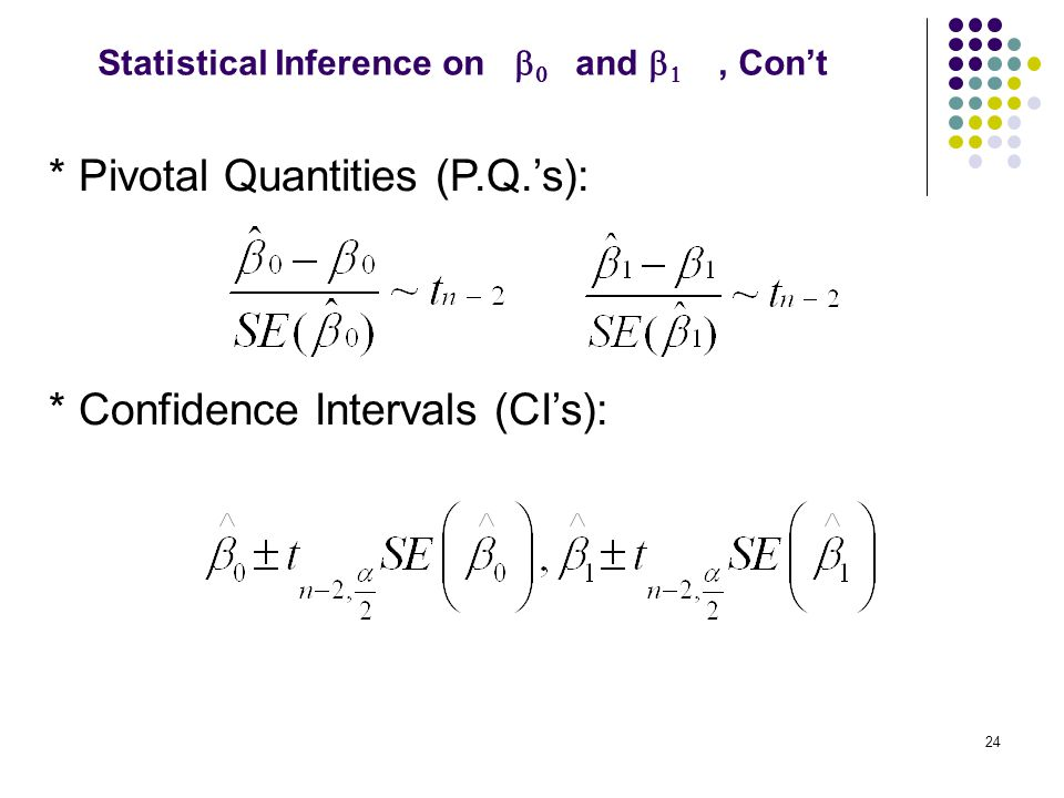 * Pivotal Quantities (P.Q.'s): * Confidence Intervals (CI's): 24 Statistical Inference on   and  , Con't