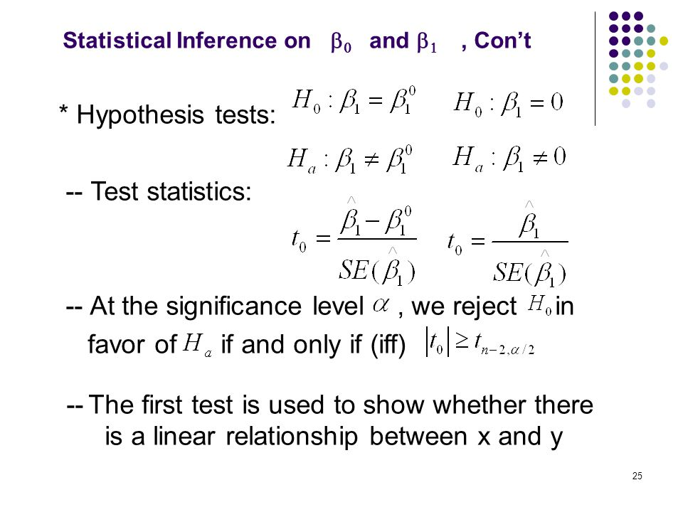 * Hypothesis tests: -- Test statistics: -- At the significance level, we reject in favor of if and only if (iff) -- The first test is used to show whe