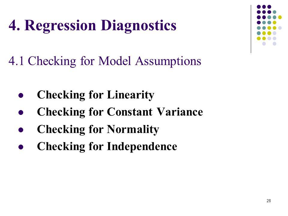 4. Regression Diagnostics 4.1 Checking for Model Assumptions Checking for Linearity Checking for Constant Variance Checking for Normality Checking for