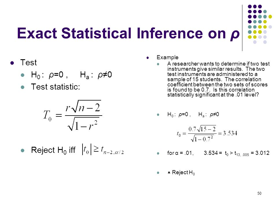 Exact Statistical Inference on ρ Test H 0 : ρ=0, H a : ρ≠0 Test statistic: Reject H 0 iff Example A researcher wants to determine if two test instrume