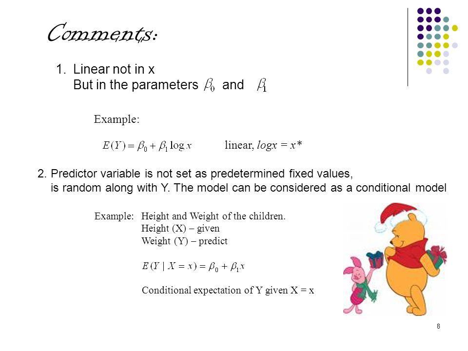  Checking for Linearity Xi =Mileage Y=β 0 + β 1 x Yi =Groove Depth ^ ^ ^ ^ Y=β 0 + β 1 x Yi =fitted value ^ ei =residual Residual = ei = Yi- Yi iXiYi ^ Yiei 10394.33360.6433.69 24329.50331.51-2.01 38291.00302.39-11.39 412255.17273.27-18.10 516229.33244.15-14.82 620204.83215.02-10.19 724179.00185.90-6.90 828163.83156.787.05 932150.33127.6622.67 29