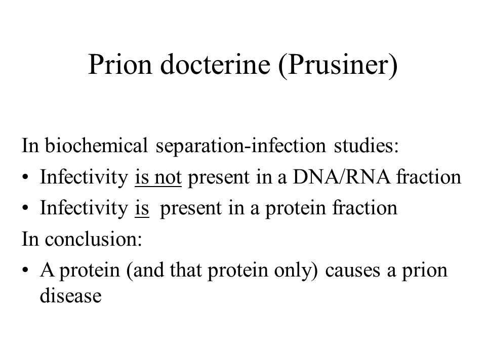 Prion docterine (Prusiner) In biochemical separation-infection studies: Infectivity is not present in a DNA/RNA fraction Infectivity is present in a protein fraction In conclusion: A protein (and that protein only) causes a prion disease