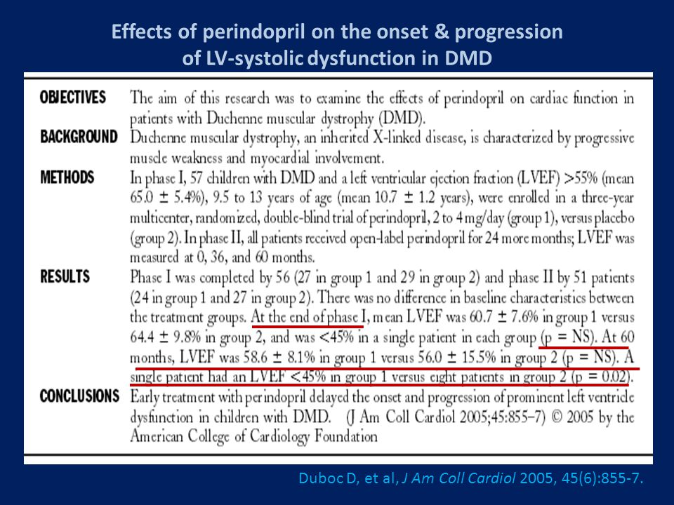 Effects of perindopril on the onset & progression of LV-systolic dysfunction in DMD Duboc D, et al, J Am Coll Cardiol 2005, 45(6):855-7.