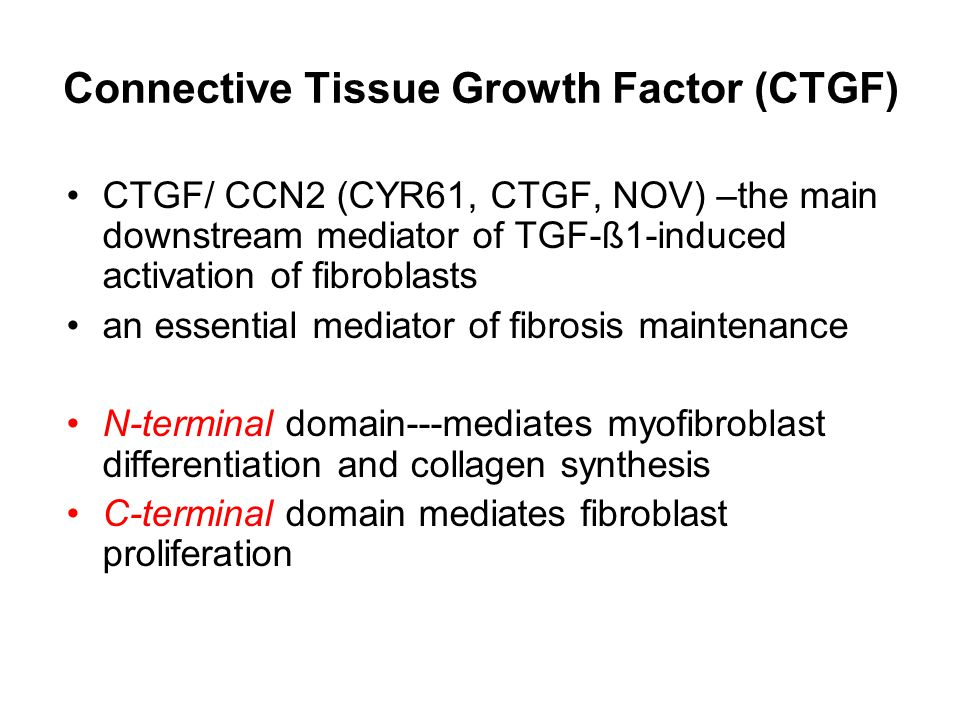 Connective Tissue Growth Factor (CTGF) CTGF/ CCN2 (CYR61, CTGF, NOV) –the main downstream mediator of TGF-ß1-induced activation of fibroblasts an essential mediator of fibrosis maintenance N-terminal domain---mediates myofibroblast differentiation and collagen synthesis C-terminal domain mediates fibroblast proliferation