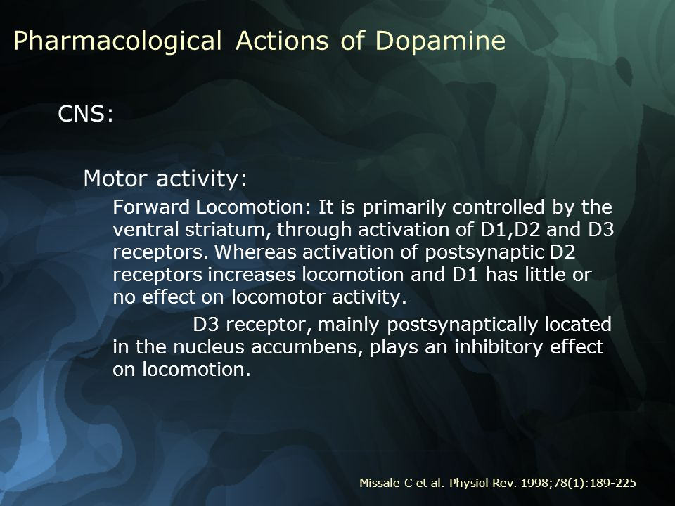 Pharmacological Actions of Dopamine CNS: Motor activity: Forward Locomotion: It is primarily controlled by the ventral striatum, through activation of D1,D2 and D3 receptors.