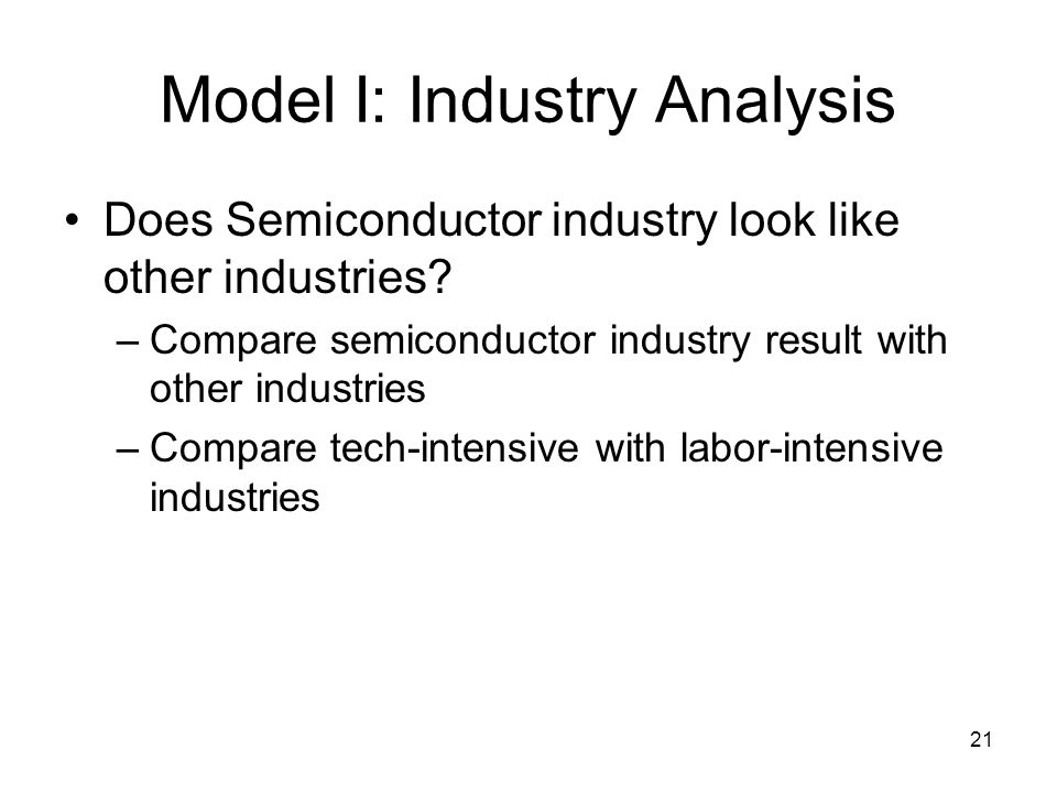 21 Model I: Industry Analysis Does Semiconductor industry look like other industries.