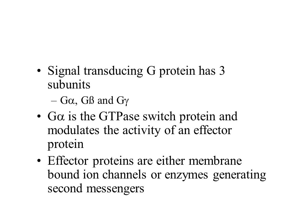 Signal transducing G protein has 3 subunits –G , Gß and G  G  is the GTPase switch protein and modulates the activity of an effector protein Effect