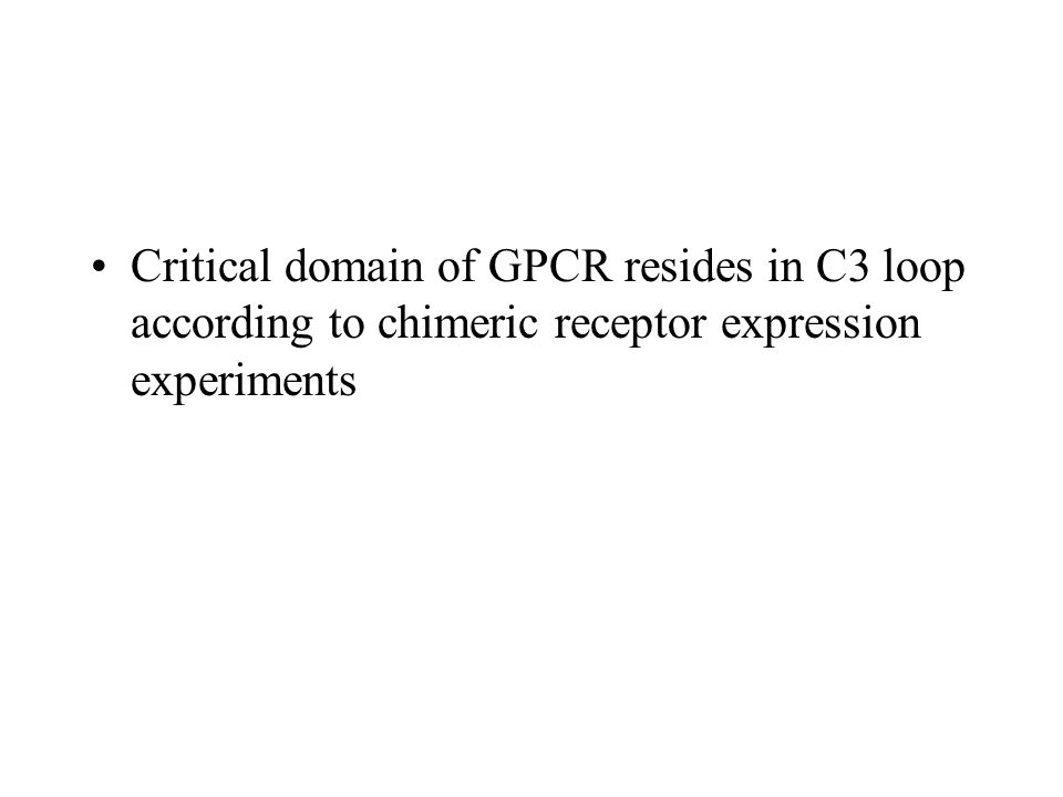 Critical domain of GPCR resides in C3 loop according to chimeric receptor expression experiments