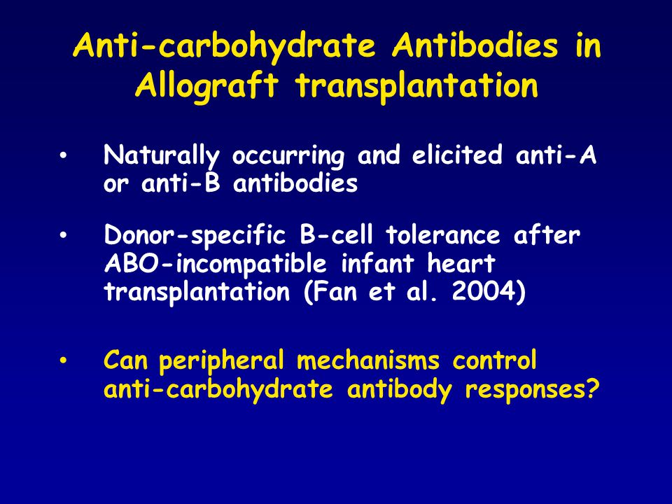 Anti-carbohydrate Antibodies in Allograft transplantation Naturally occurring and elicited anti-A or anti-B antibodies Donor-specific B-cell tolerance after ABO-incompatible infant heart transplantation (Fan et al.