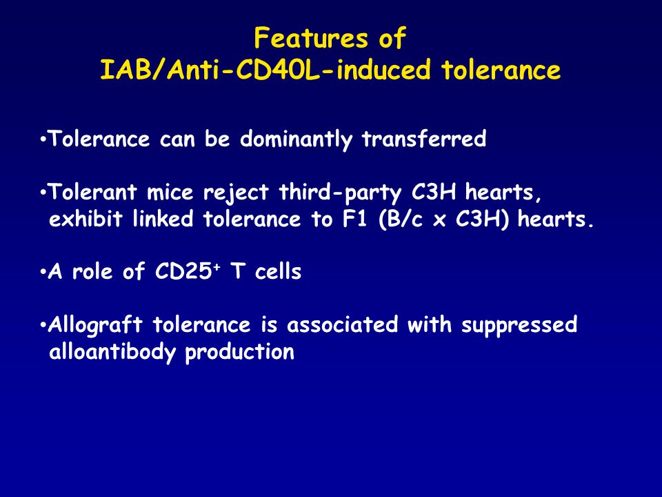 Anti-Gal IgM production in IAB/Anti-CD40L-induced tolerant mice 0 0.25 0.5 0.75 1 1.25 O.D.
