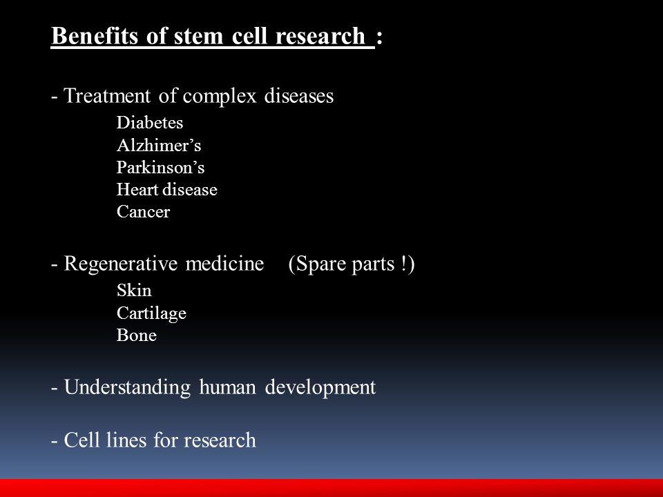 Benefits of stem cell research : - Treatment of complex diseases Diabetes Alzhimer's Parkinson's Heart disease Cancer - Regenerative medicine (Spare p